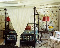 Love this room! Concept for my son's room. I'll have to shop around for this wall paper or just stencil.