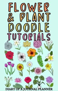 Liven up your bullet journal with these stunning flower and plant bujo doodle tutorials! #bulletjournalflower #doodles Easy Flower Drawings, Flower Drawing Tutorials, Drawing Flowers, Easy Drawings, Bujo Doodles, Love Doodles, Simple Doodles, Bullet Journal Mood, Bullet Journal Themes