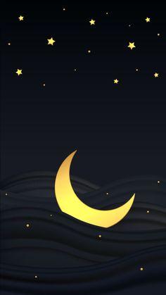Star Wallpaper, Screen Wallpaper, Wallpaper Backgrounds, Iphone Wallpaper, Moon And Stars Wallpaper, Sun Moon Stars, Sun And Stars, Nocturne, Cresent Moon