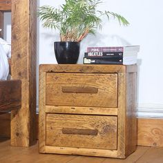 English Beam Reclaimed Wood 2-Drawer Bedside Table