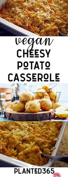 Vegan Cheesy Hash Brown Potato Casserole Cheesy Potatoes Funeral Potatoes Holiday Vegan Recipe Planted365 #vegancheese #cheesypotatoes #vegancheesypotatoes #vegancasserole PIN IT