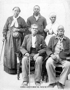 This group of fugitive slaves escaped to freedom in Canada on the Underground Railroad and took up residence in Windsor, Ontario, Canada. The image was collected by Ohio State University professor Wilbur H. Siebert (1866-1961)