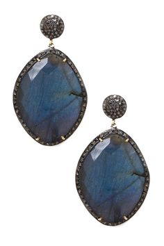 Diamond and Labradorite Drop Earrings