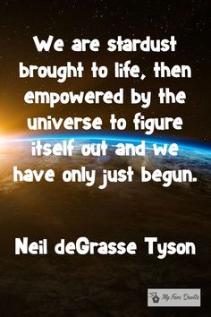"""""""We are stardust brought to life, then empowered by the universe to figure itself out and we have only just begun. Science Quotes, Craft Quotes, Science Facts, Space Quotes, Me Quotes, Stardust Quotes, Neil Degrasse Tyson Quote, Cosmic Quotes, Together Quotes"""