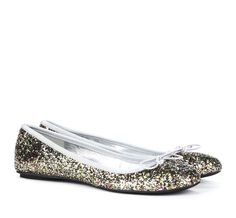 Glitter Round Toe Ballet Flats with Bows.