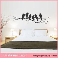 Vogel op Tak Muursticker - Kies Jouw Eigen Formaat & Kleur!