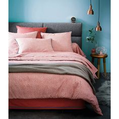 Beautiful bed linen and bedroom DUO Cotton Percale Housewife Pillowcase La Redoute Interieurs