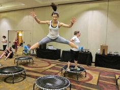 Did you know that 10 minutes on a trampoline is equivalent to 30 minutes on the treadmill? Watch this video of a quick trampoline workout to learn how to bounce off the pounds in less time. | Health.com