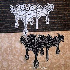 Gothic Filigree scroll with Spiders Black White Iron On Embroidery Patch MTCoffinz - Choose Color