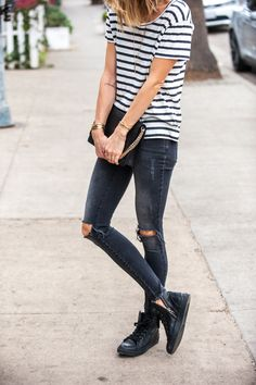 Stripes, Ripped Black Jeans