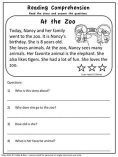 Reading Comprehension Passages - First Second Grade - 1st Grade Reading Worksheets, First Grade Reading Comprehension, Picture Comprehension, Phonics Reading, Reading Comprehension Worksheets, Reading Passages, Teaching Reading, Comprehension Questions, Learning