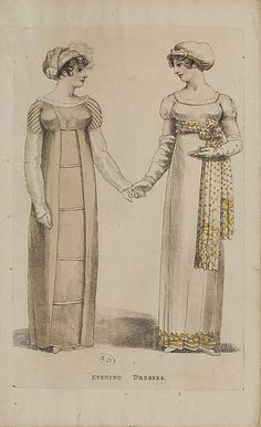 Regency Fashion Plate. I love the scarf used as a sash on the model on the right.