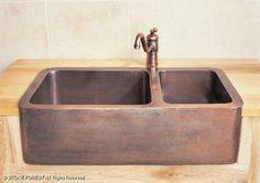 Farmhouse & Prep Sinks: Double Basin Copper Farmhouse Sink