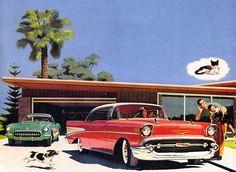 Plan59 :: Classic Car Art :: Vintage Ads :: 1957 Chevrolet Bel Air and Corvette