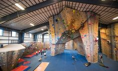 Clients furnished with harnesses, shoes, and thorough belaying instruction ascend indoor rock-climbing walls