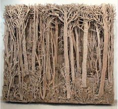 "Paper Sculpture - ""Cardboard Forests"" by Eva Jospin Cardboard Sculpture, Cardboard Art, Sculpture Lessons, Sculpture Art, Sculpture Projects, Cardboard Relief, Instalation Art, Art Postal, Paperclay"