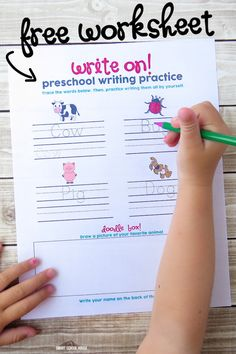 Writing Practice Worksheet for Preschool or Kindergarten. Can be used at home or in the classroom