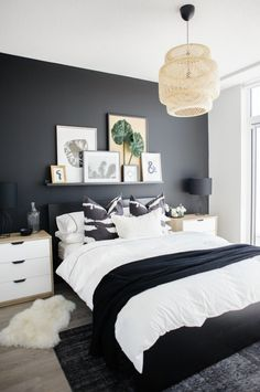 See how a dramatic black wall can instantly transform a basic condo bedroom. See how a dramatic black wall can instantly transform a basic condo bedroom. Condo Bedroom, Master Bedroom Interior, Home Decor Bedroom, Modern Bedroom, Contemporary Bedroom, Bedroom Black, Minimalist Bedroom, Trendy Bedroom, White Bedroom Decor