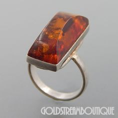 UNIQUE STERLING SILVER BALTIC AMBER RECTANGULAR DOMED RING SIZE 6.75 #Cocktail