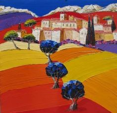 ArtQuid is a global online art marketplace allowing to buy Original Art and Prints (Canvas Prints, Acrylic Prints, Alu Dibond Prints, Fine Art Prints, Posters) directly from artists around the world. House Landscape, Landscape Art, Landscape Paintings, Art Village, Art And Illustration, Paintings I Love, Oil Painting Abstract, Art Floral, Online Art