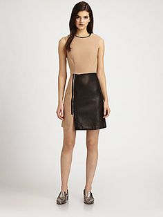 3.1 Phillip Lim Leather-Paneled Wool-Blend Dress (=)