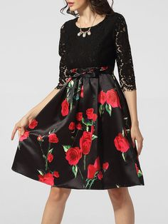 Round Neck Bowknot Floral Hollow Out Patchwork Skater Dress Only $34.95 USD More info...