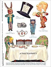Mad Hatters Tea-Party Paper Dolls Collage Sheet via Alpha Stamps