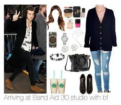 """""""Arriving at Band Aid 30 studio with Harry"""" by myllenna-malik ❤ liked on Polyvore featuring Shoe Cult, Roque Bags, DANNIJO, Elie Saab, Butter London, Karen Walker, Blue Nile, Michael Kors, OneDirection and harrystyles"""