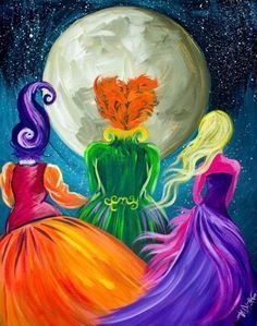 Beginners learn to paint full acrylic art lesson of the Sanderson Sisters from Hocus Pocus. this is a Great Wicked witches painting with a ton of sass. LIVE acrylic painting tutorial for new painters This is a super simple fun halloween Project Halloween Canvas Paintings, Fall Canvas Painting, Witch Painting, Canvas Painting Tutorials, Halloween Painting, Autumn Painting, Halloween Art, Diy Painting, Halloween Decorations