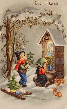 retro christmas greeting cards in italian - Google Search