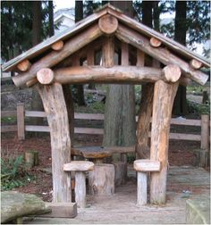 Fortes out of logs, slides in hillsides,sand play areas,stump table and chairs,and instruments.