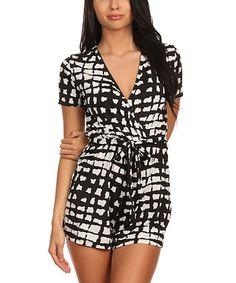 Look at this #zulilyfind! Black & White Geometric Surplice Romper by Pretty Young Thing #zulilyfinds