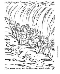 bible coloring pages- parting of the red sea