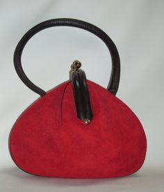 Rare ROGER VAN S Suede and Leather Purse by Vintageables on Etsy, 425.00