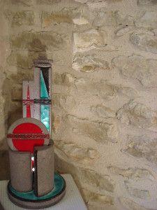 Anik Bonnasieux, le jeux d'émaux. Pierre de lave émaillée. Sculpture éclairée - Journées Art et Artisanat Ornans 2015