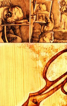 "Burnt wood comic book art from Daniel Crossier -- ""Bartholomew of the Scissors"""
