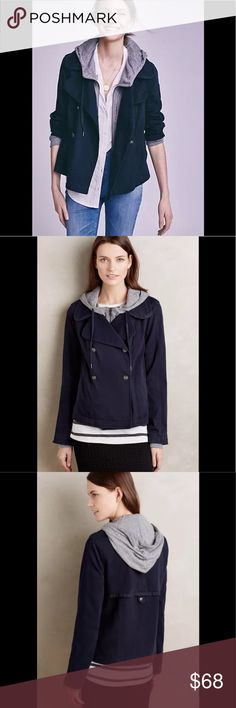 """Anthropologie Layered Solin Jacket Hei Hei S NEW Anthropologie Layered Solin Jacket by Hei Hei S Small NEW Blue 🌻Brand New Condition without tags. Slouchy relaxed fit. Well made and hangs well on the body. Bottom hem hits upper thigh. Good length and soft, easy fabric. Layering option as well.  Stretch cotton twill; cotton, polyester, rayon knit underlayer Side pockets Zip and button front Machine wash Imported Style No. 4115581489578  » Measured Flat; Bust: 19.5"""" Sleeve: 24""""  Falls 23""""…"""