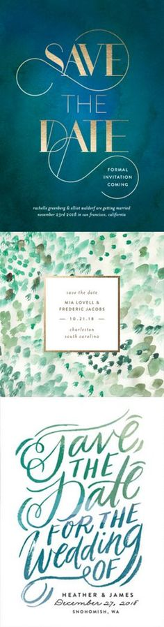 From emerald to olive green, discover the perfect shade for your Save The Date cards from Minted.