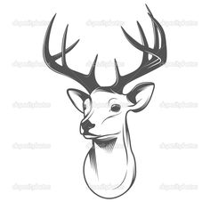 stag head outline - Google Search