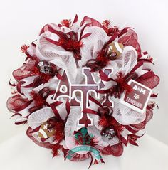 Texas A&M Aggies College Maroon And White Deco Mesh Door Wreath by Crazyboutdeco on Etsy