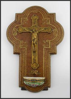 French Vintage Antique Crucifix Porcelain Holy Water Font Gothic Gargoyles RARE