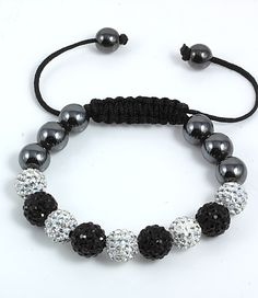 Shamballa bracelet in black and white Couple Bracelets, Metal Bracelets, Bracelets For Men, Fashion Bracelets, Beaded Bracelets, Cute Jewelry, Charm Jewelry, Women Jewelry, Shambala Bracelet