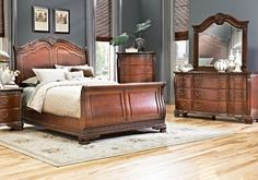 Cortinella Cherry 7 Pc Queen Sleigh Bedroom Set includes 3 Pc Queen Sleigh Bed, Dresser, Mirror & Find affordable Queen Bedroom Sets for your home that will complement the rest of your furniture. At Home Furniture Store, Twin Bedroom Furniture, Dark Bedroom Furniture, King Size Bedroom Furniture, Beautiful Bedroom Set, Furniture, King Bedroom Furniture, Affordable Bedroom Sets, Bedroom Sets Furniture King