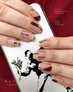 Natural nails with maroon and black geometric accents. #autumn