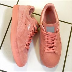 Puma Suede Classics Worn once!!! Salmon colored suede classic sneakers. Additional laces included-shown in 3rd picture. Very comfortable. Women's 8. Puma Shoes Sneakers