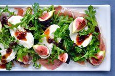 Recipe: Salad Recipes / Fig, Prosciutto and Burrata Cheese Salad Recipe - tableFEAST Burrata Recipe, Burrata Salad, Fig Salad, Burrata Cheese, Cheese Salad, Summer Salad Recipes, Healthy Salad Recipes, Summer Salads, Prosciutto