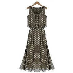 Women's Round Polka Dot Patchwork Chiffon Long Dress – USD $ 20.99