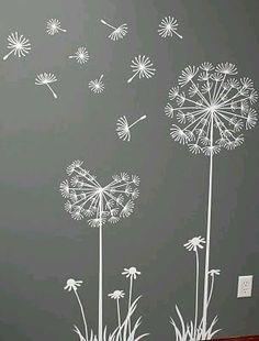 Flowers / Floral Mural / Wall Art / Chalkboard Art Design Inspiration for Spring time Dandelion Art, Dandelion Designs, Dandelion Seeds, Dandelion Wallpaper, Dandelion Drawing, Dandelion Wall Decal, Window Art, Chalk Art, Embroidery Designs