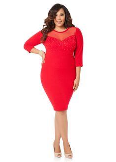 50be8d05f94d Beaded Mesh Yoke Sweater Dress - Ashley Stewart Curvy Dress