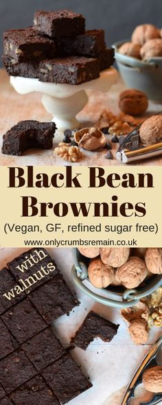 Black Bean Brownie recipe with walnuts, which is naturally gluten free, vegan and free of refined sugar.